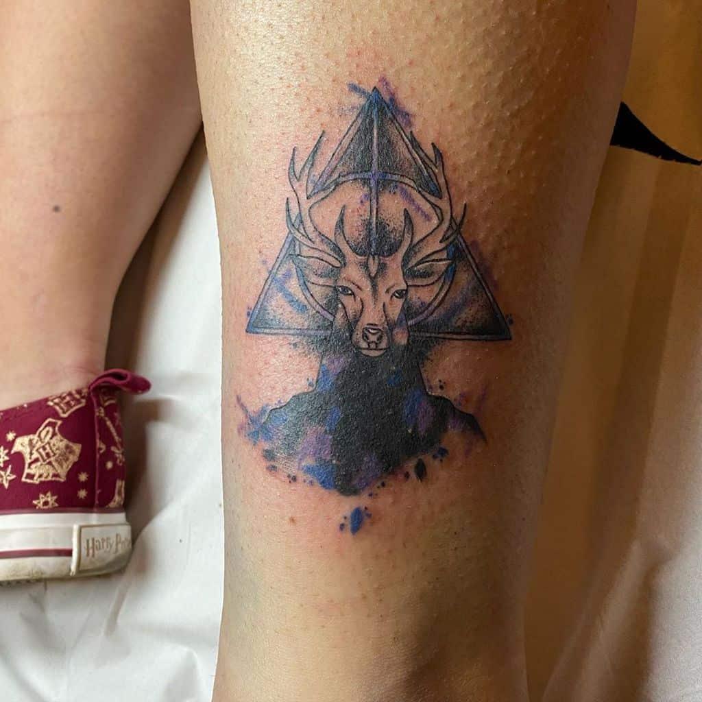 invisibility cloak patronus harry potter deathly hallows tattoo