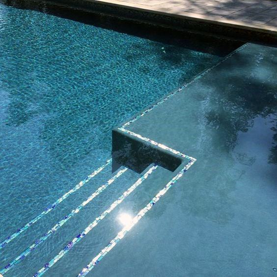 Iridescent Glass Pool Tile Ideas On Border And Steps