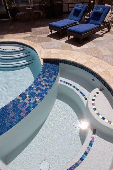 Iridescent Pool Tile Designs Blue