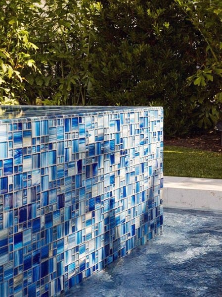 Iridescent Swimming Pool Glass Tile Ideas