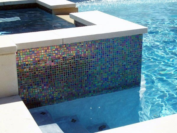 Iridescent Waterline Ideas Pool Tile