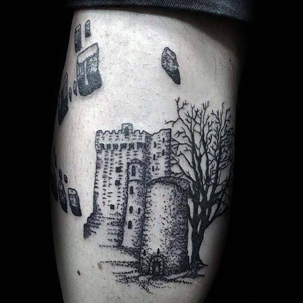 Irish Castle Guys Leg Tattoo Designs