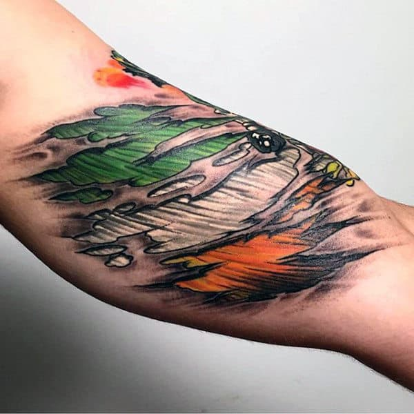 Irish Flag Mens Bicep Muscle Tattoos