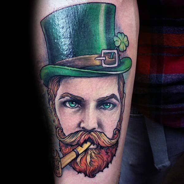 Irish Man With Green Hat Mens Inner Forearm Tattoo