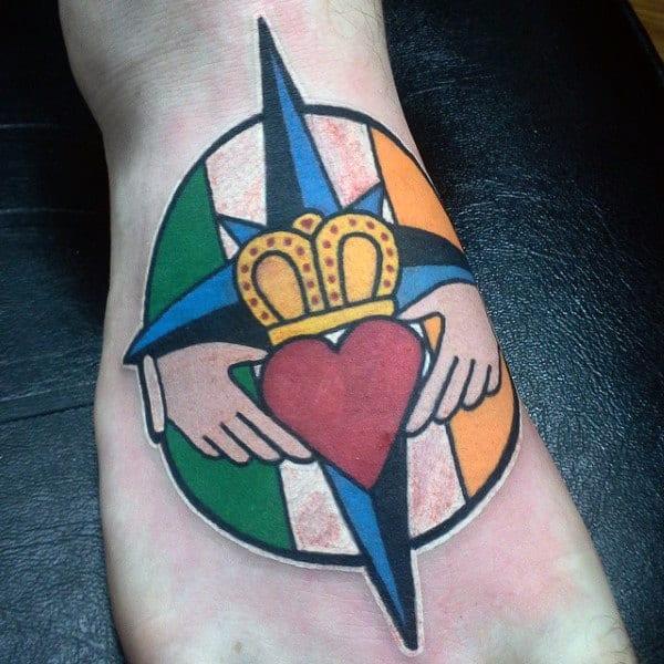 Irish Mens Claddagh Symbol Tattoo On Foot