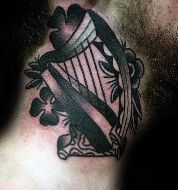 Irish Neck Male Harp Tattoo Ideas