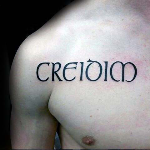 Irish Word Mens Upper Chest Tattoo Design Ideas