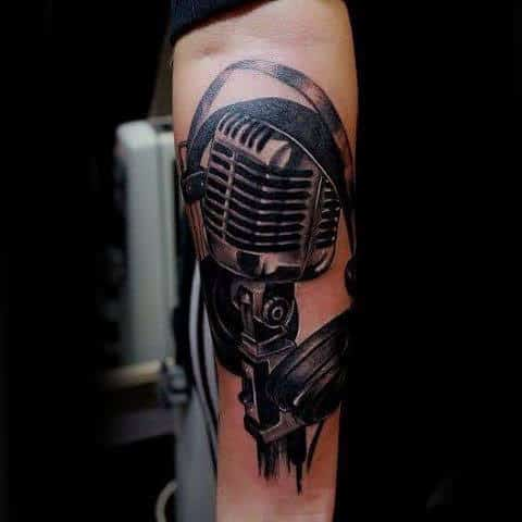 Iron Grey And Black Microphone Tattoo Mens Arms