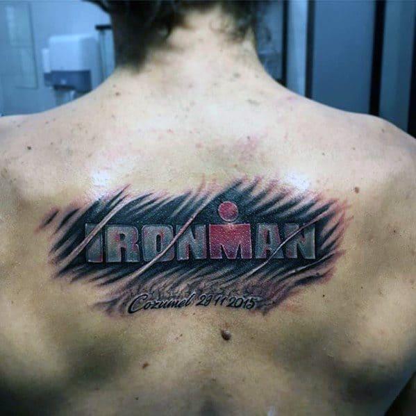 Ironman Tattoos Guys On Upper Back