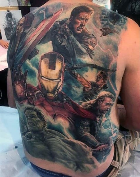 Ironman With Hulk And Superheros Guys Marvel Full Back Tattoos