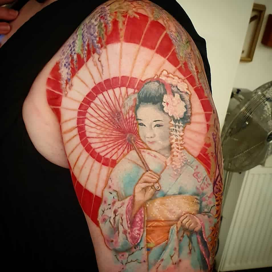 Istinbarnstaple Japanese Geisha Color Tattoo