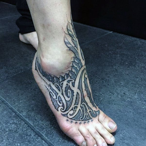 Italicized Black Tattoo Design Foot For Men