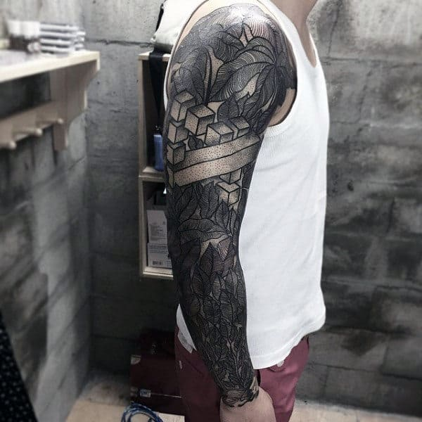 Ivy Leaf Tattoos For Males Full Sleeve Design