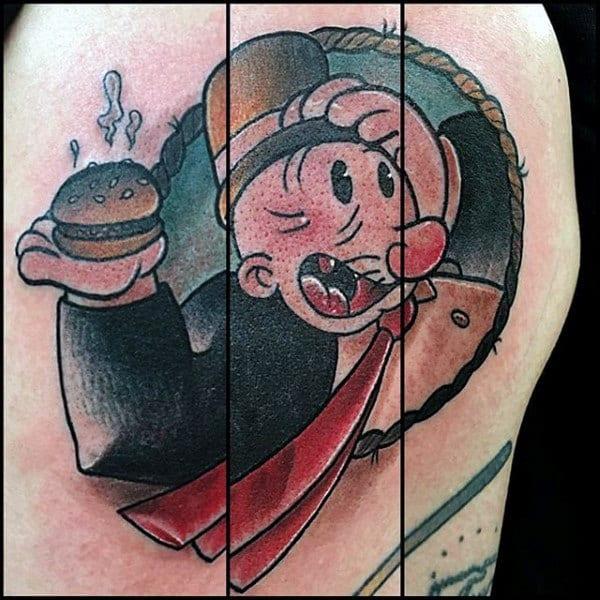 J Wellington Wimpy Mens Popeye Upper Arm Tattoo