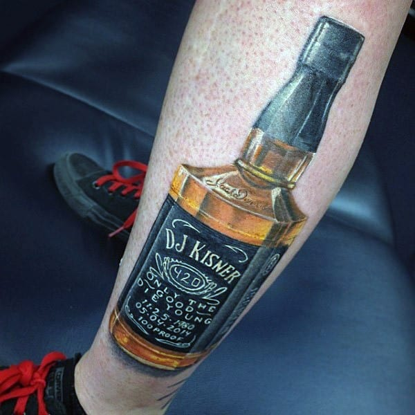 Jack Daniels Bottle Guys Memorial Leg Tattoo