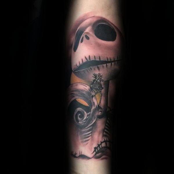 Jack Skellington From Night Before Christmas Tattoo On Males Forearms