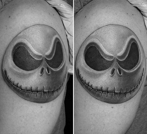 Jack Skellington Head Mens Night Before Christmas Upper Arm Tattoos