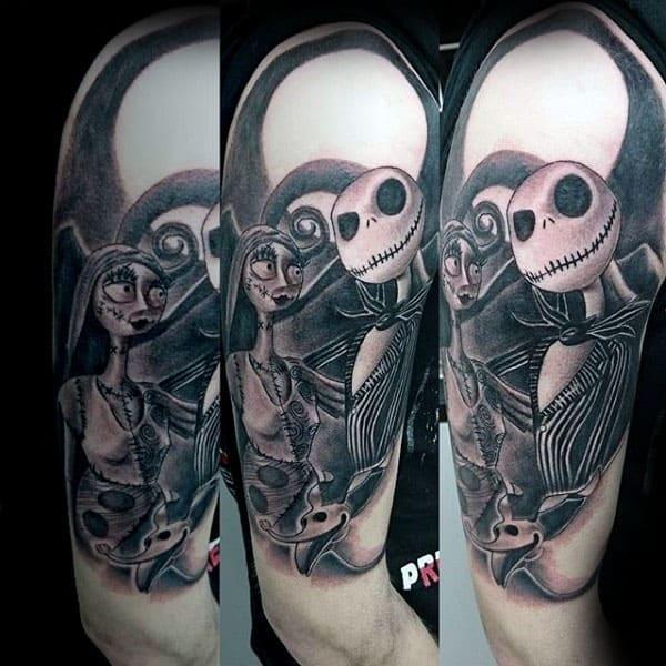 Jack Skellington With Sally Night Before Christmas Mens Half Sleeve Tattoo