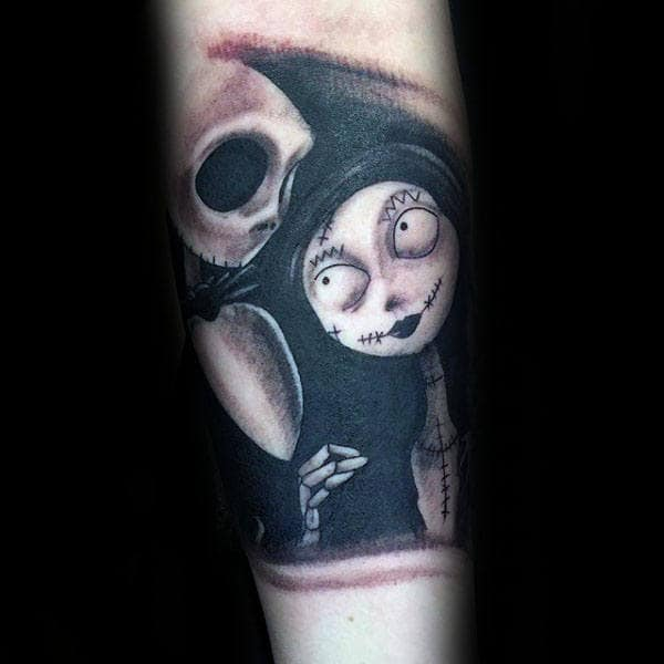 Jack With Sally Guys Night Before Christmas Quarter Sleeve Shaded Black Ink Tattoos