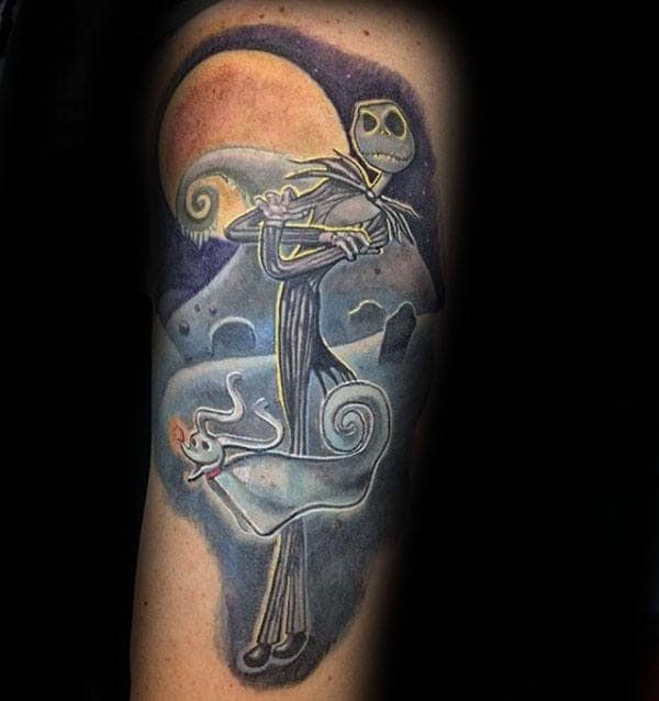 Jack With Zero Dog Ghost Night Before Christmas Arm Tattoo On Male