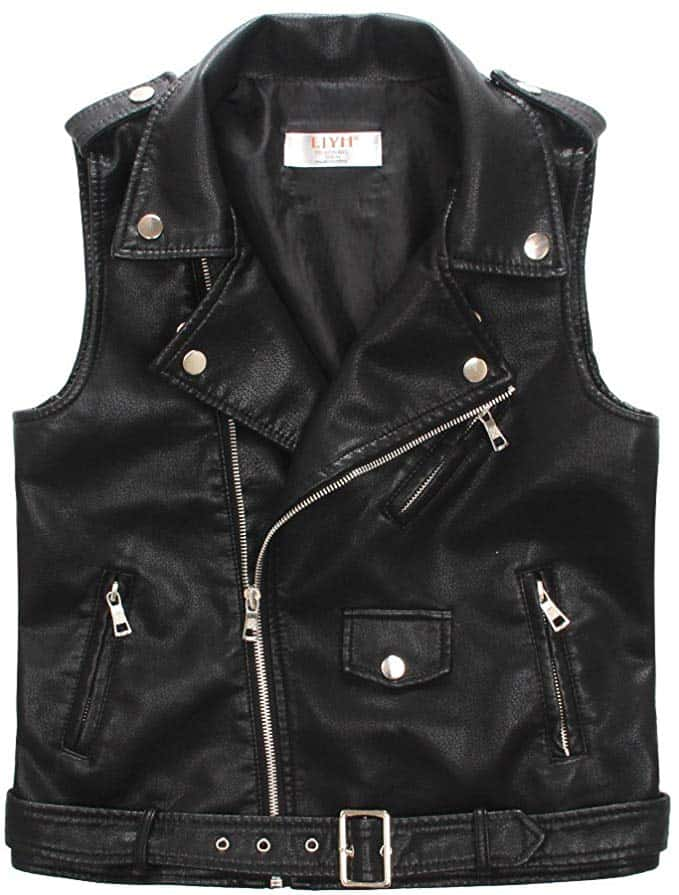 ljyh faux leather motorcycle dress casual boys joker vest black