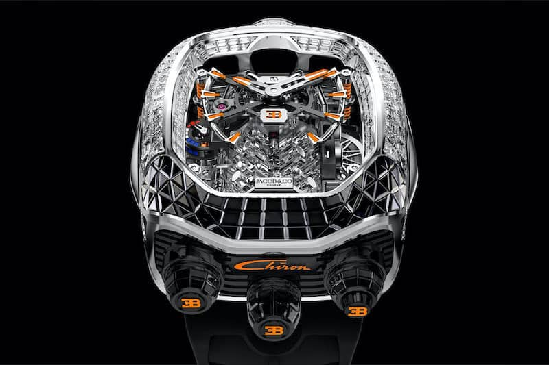 Jacob & Co x Bugatti Chiron Tourbillon Baguette Black and Orange