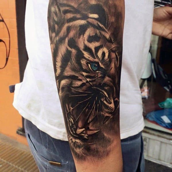 Jaguar Forearm Sleeve Mens Animal Tattoos