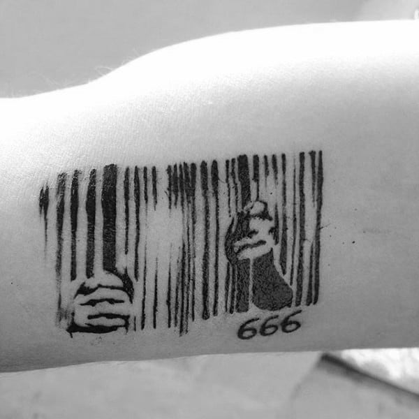 Jail Bars Barcode Mens Tattoos On Arm