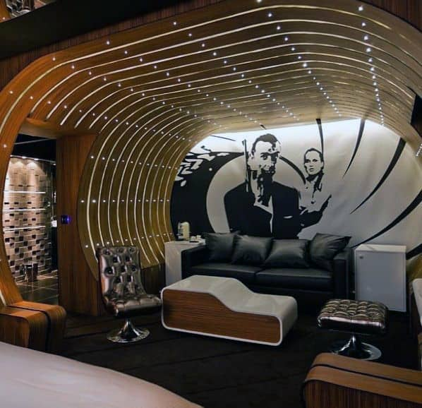 James Bond Themed Basement Man Cave Designs