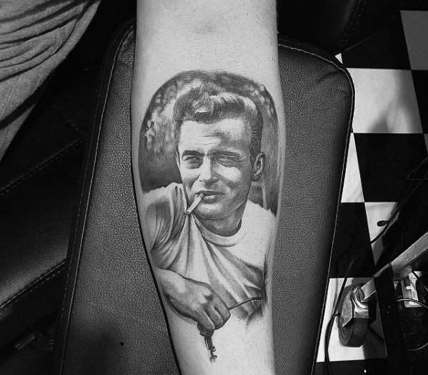James Dean Guys Tattoos On Inner Forearm