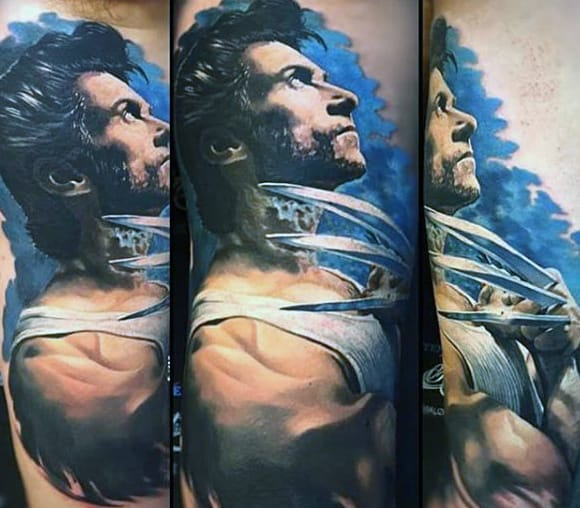 James Howlett Mens Wolverine Realistic Arm Tattoos