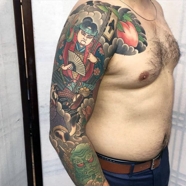 Japanese And Fan Sleeve Tattoo For Men