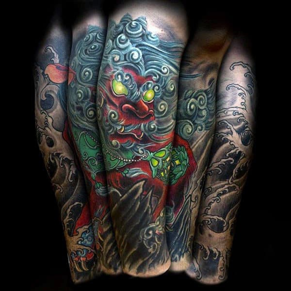 Japanese Awesome Demon Sleeve Tattoo For Guys