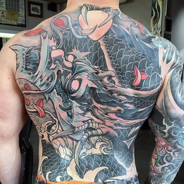 Japanese Badass Dragon Full Back Tattoos For Gentlemen