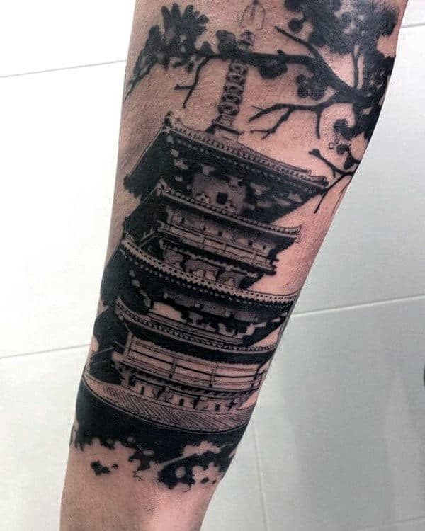 Japanese Building Mens Forearm Tattoo