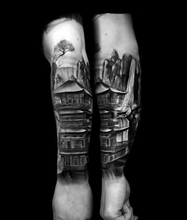 Japanese Building Waterfall Forearm Tattoo On Male