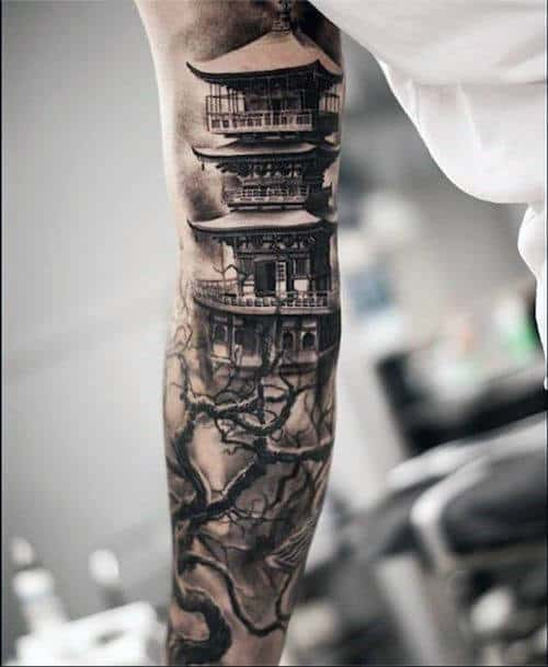 Japanese Building With Tree Mens Sleeve Tattoos