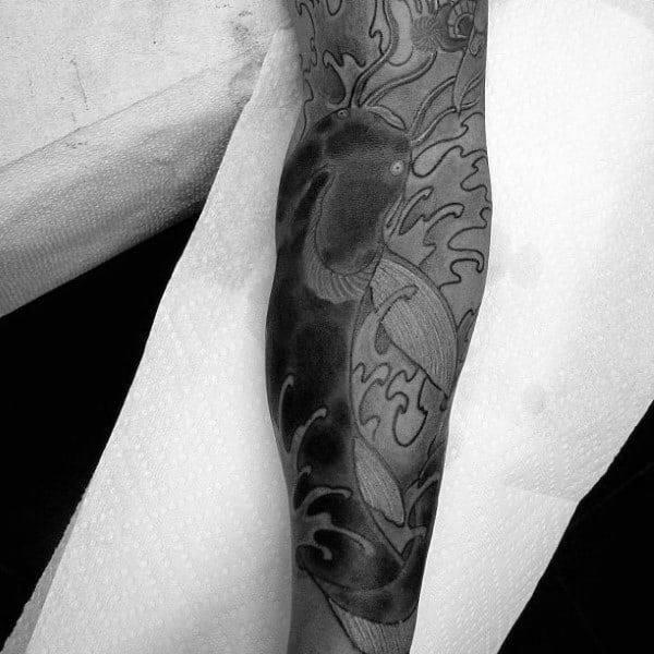 Japanese Catfish Sleeve Mens Leg Tattoos