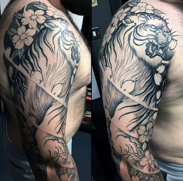 Japanese Cherry Blossom Tattoo For Men Tiger Sleeve Designs