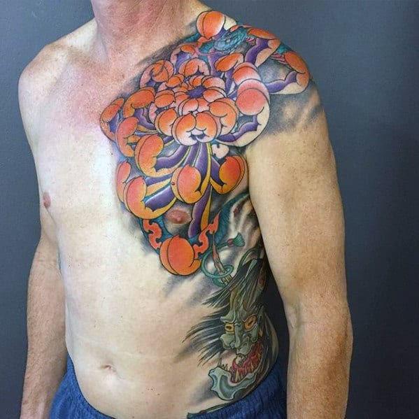 Japanese Chrysanthemum Flower Mens Chest Tattoos