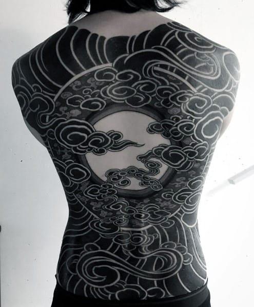 Japanese Clouds Blackwork Mens Full Back Coolest Tattoos