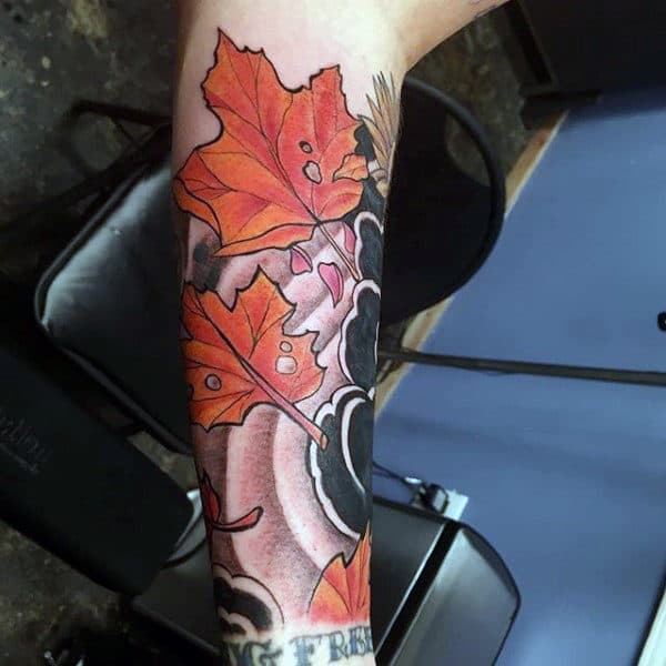 Japanese Clouds Fall Leaves Mens Forearm Sleeve