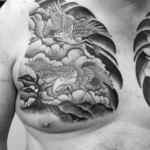 Japanese Clouds With Crane Birds Upper Chest Tattoo For Men