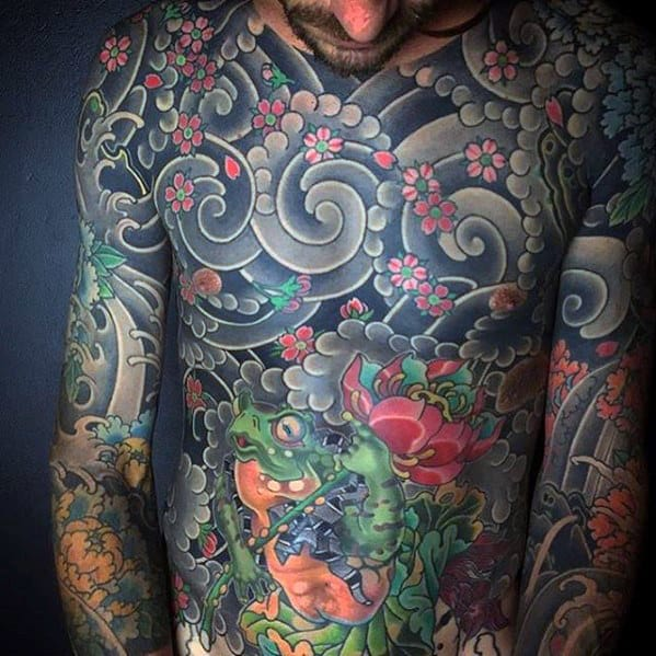 Japanese Clouds With Frog Mens Chest Tattoo Designs
