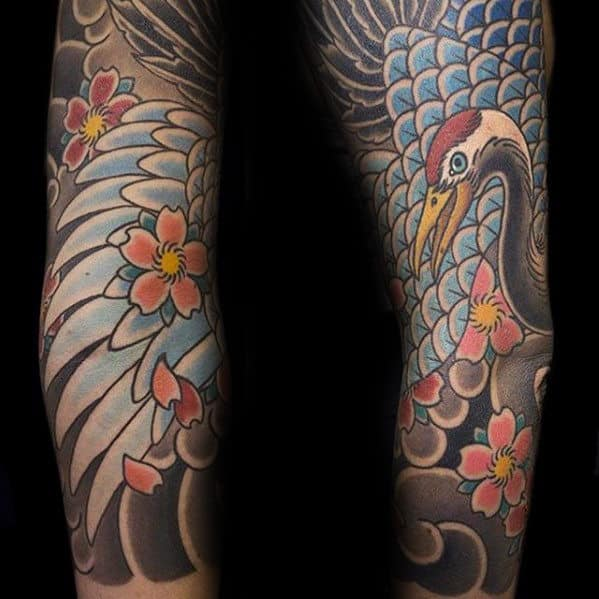 Japanese Crane Feathers Mens Arm Sleeve Tattoo Design Ideas