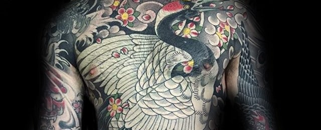 Japanese Crane Tattoo Designs For Men