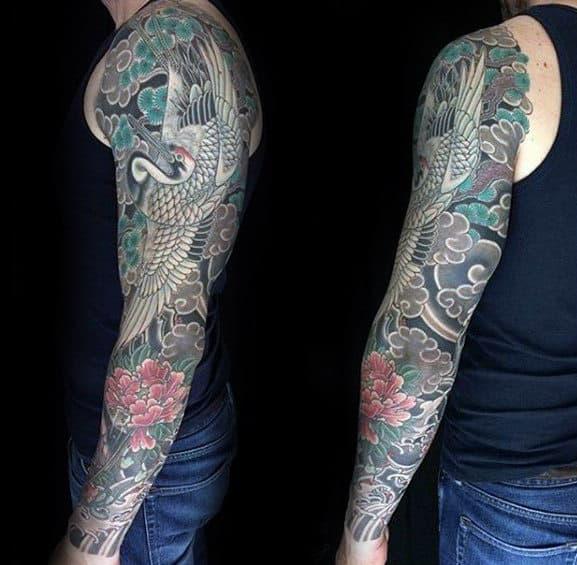 60 Crane Tattoo Designs For Men - Masculine Bird Ink Ideas - photo#29