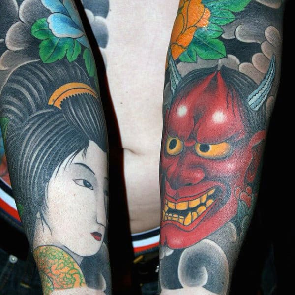 Japanese Creative Forearm Sleeve Tattoos For Men