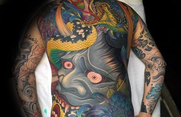 Japanese Demon Mask Badass Guys Back Tattoos