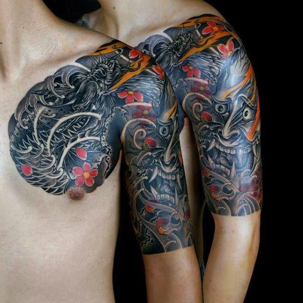 Japanese Demon Mask With Koi Dragon Mens Half Sleeve Tattoo